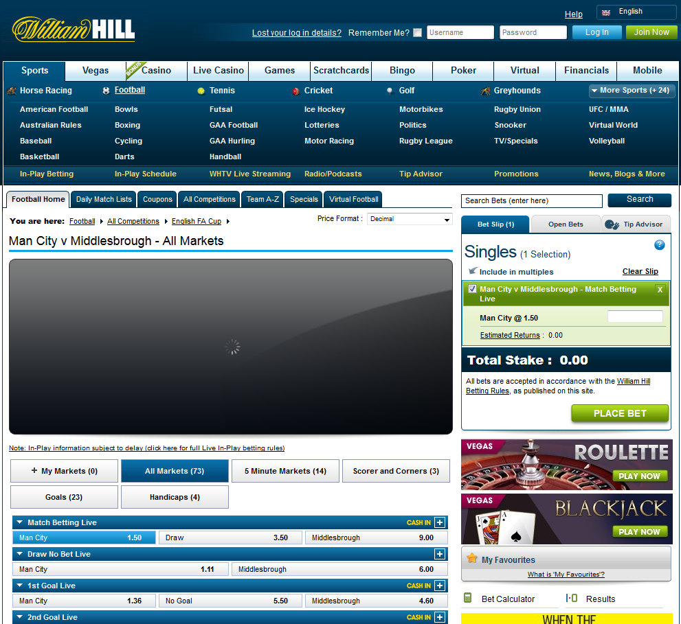 william hill most popular bets